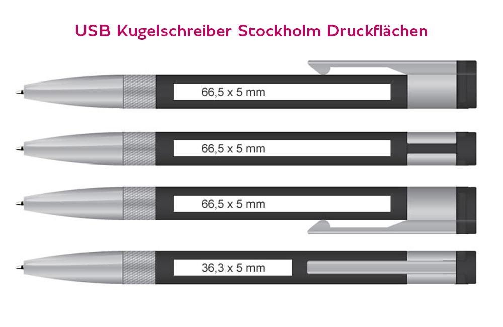 Vier mögliche Druckflächen für USB Kugelschreiber Stockholm
