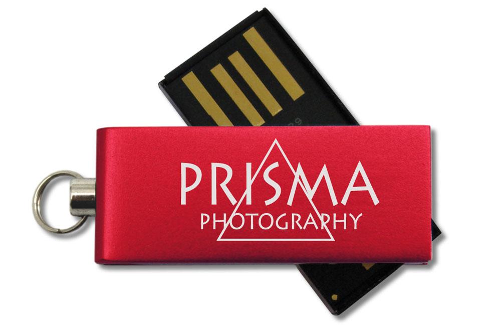 USB Stick Micro Twist Logo auf Vorderseite als Lasergravur