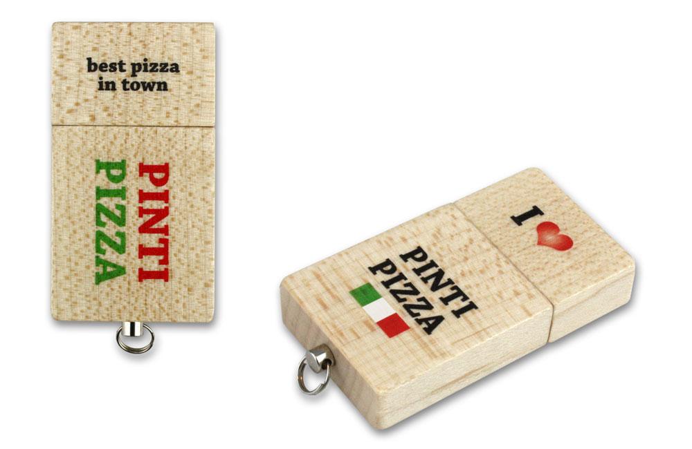 USB Stick Eco Wood Logo Vorder- und Rückseite im Vollfarbdruck
