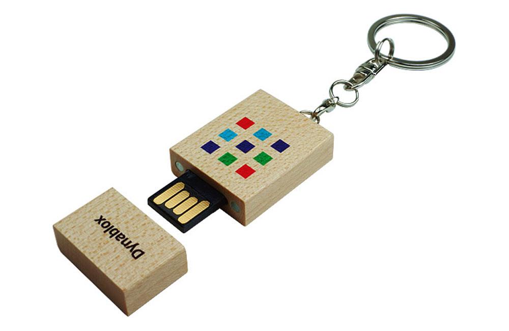 USB Stick Eco Wood Logo im Vollfarbdruck konfektioniert mit Schlüsselanhänger
