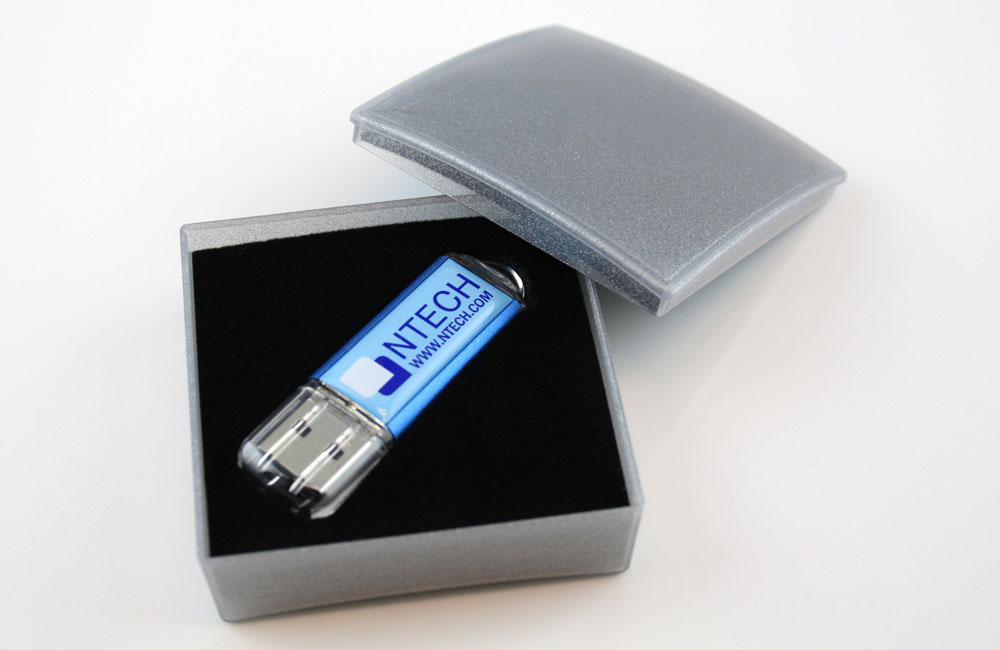 USB Stick Original Logodruck im Vollfarbdruck mit Doming in Geschenkbox Classic