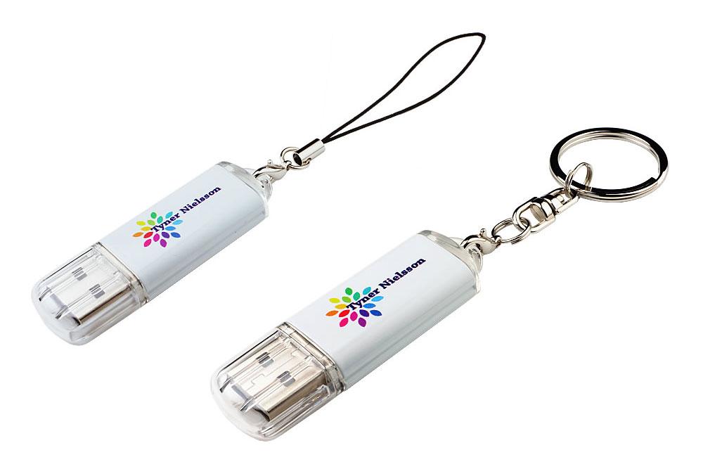 USB Stick Original mit Logodruck konfektioniert mit Phonestring oder Schlüsselring