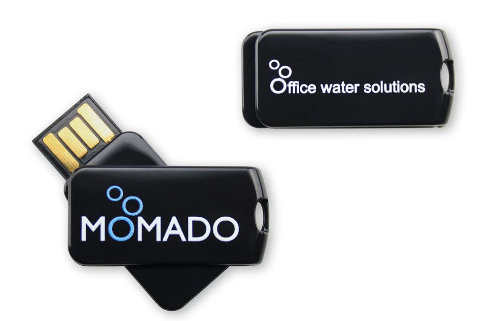 USB Stick Smart Twist schwarz mit zweiseitgem Vollfarbdruck