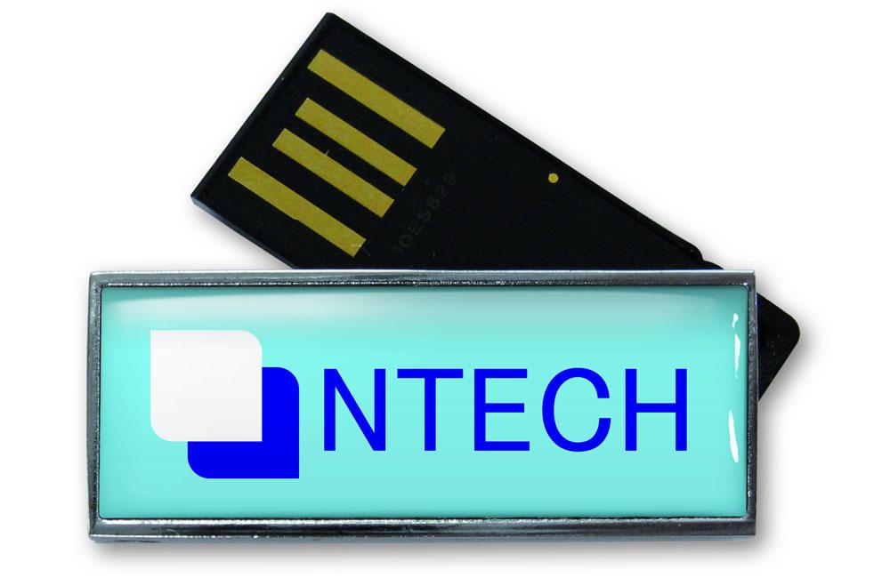 USB Stick Solid Twist Logo auf Vorderseite Vollfarbdruck mit Doming