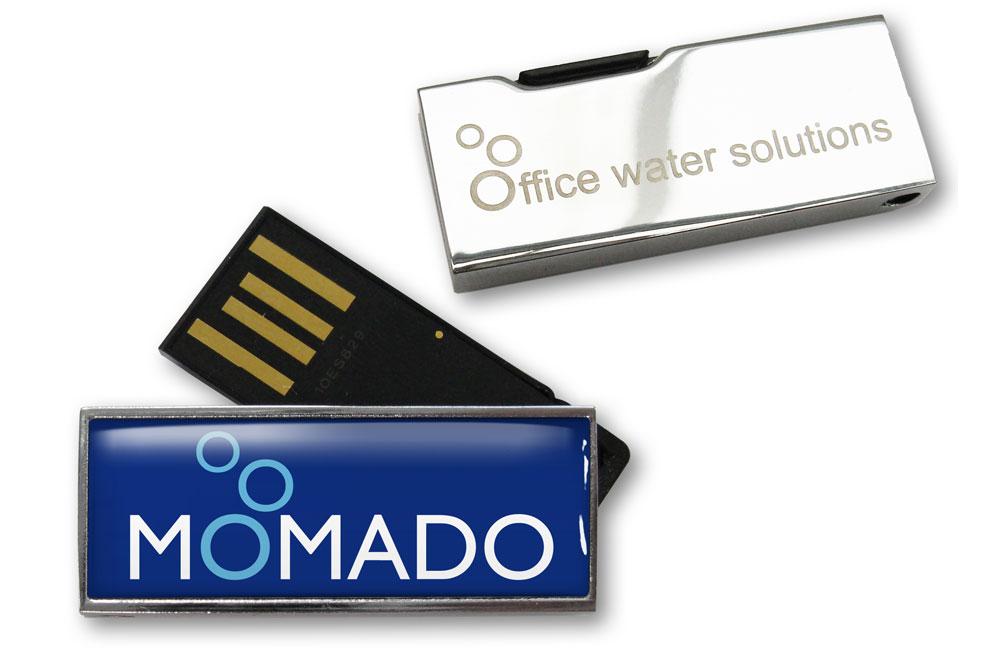 USB Stick Solid Twist Logo auf Vorderseite im Vollfarbdruck mit Doming, Logo auf Rückseite als Lasergravur