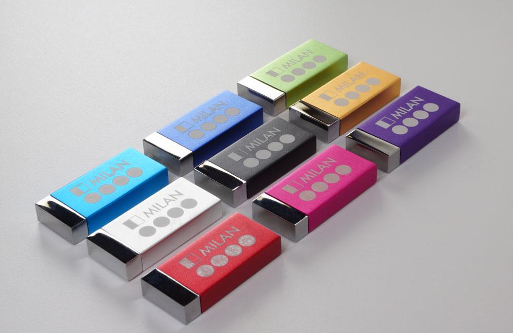 USB Stick Milan in 9 Farben lieferbar, Logo auf Vorderseite als Lasergravur