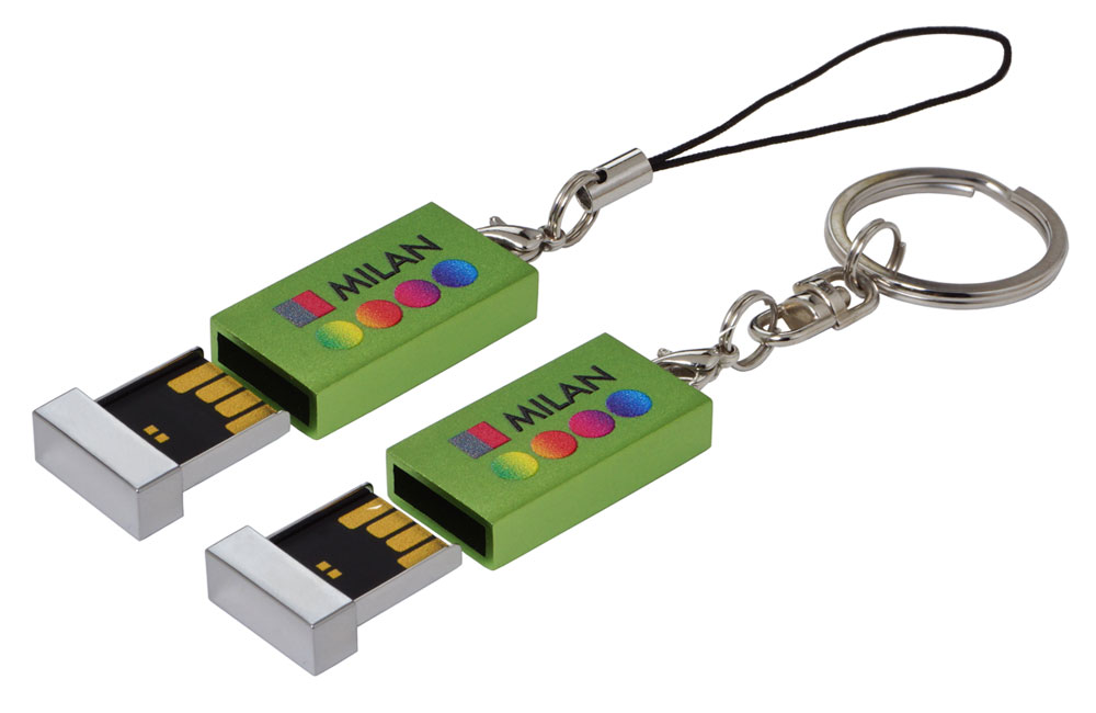 USB Stick Milan konfektioniert mit Schlüsselring und Phonestring