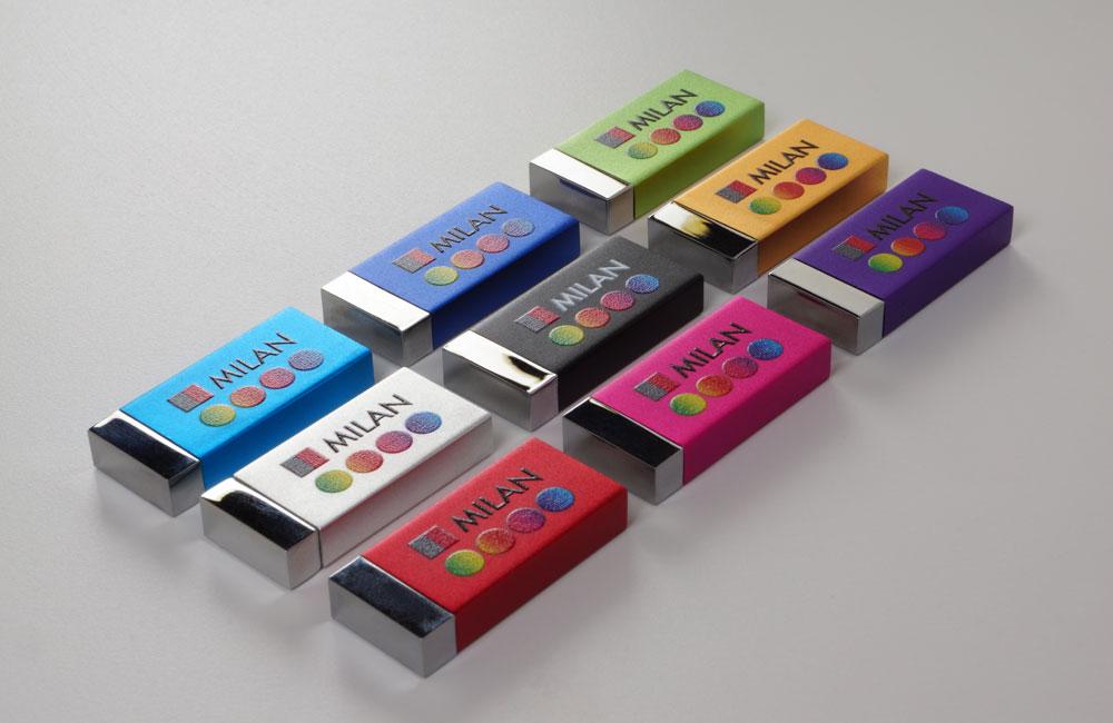 USB Stick Milan in 9 Farben lieferbar, Vorderseite mit Vollfarbdruck
