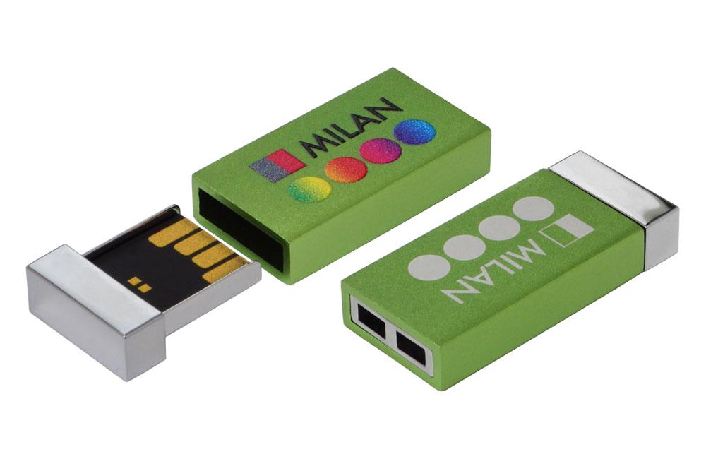USB Stick Milan Logo Vorderseite im Vollfarbdruck, Logo auf Rückseite als Lasergravur